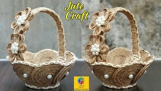 Download DIY Flower Basket with Jute Rope and Cardboard | Jute Rope Flower Basket | Jute and Cardboard Craft Video