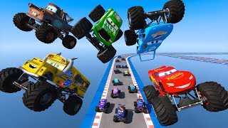 Download Race Cars Monster Trucks McQueen Miss Fritter The King Chick Hicks Mater and Cars Friends for Kids Video