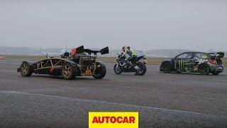 Download Ariel Atom V8 vs 600bhp rallycross Citroen DS3 vs BMW HP4 superbike drag race - autocar.co.uk Video