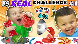 Download GUMMY vs. REAL FOOD CHALLENGE! LIVE Animals FUN (Chase's Corner #48 DOH MUCH FUN) Video