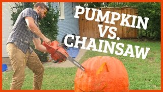 Download CARVING MASSIVE PUMPKIN WITH CHAINSAW!! Video