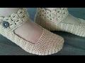 Download كروشيه بالوري حذاء سليبر نسائي مع حزام بغرزة البروموستيك crocheted slipper Women's Video
