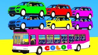 Download LEARN COLORS with SUV Cars on BUS & Spiderman Cartoon 3D w Superheroes for kids and babies Video