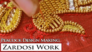 Download Zardosi Work Peacock Design HD Video | Maggam Work Making | Hand Embroidery Video