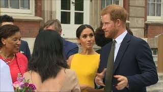 Download Britain's Prince Harry, Meghan meet young Commonwealth leaders in London Video