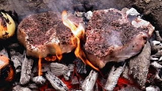 Download Caveman Steak Recipe - Cooked directly on the coals Video