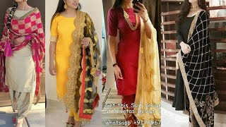 Download Plain Punjabi suit with heavy Embroidered dupatta ideas/Diwali Salwar suit designs ideas/ Video
