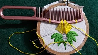 Download Amazing Hair Comb Trick Hand Embroidery Design #100 Beautiful cushion Flower Video