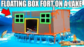 Download 24 HOUR BOX FORT BOAT ON A LAKE!! 📦💧FISHING, HUGE WAVES, REAL SHOWER & 3:00AM SCARY ISLAND 😱 Video