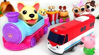 Download Chung-chung! Let's ride with Baby Dogs~! Chubby Puppies Train with Titipo titipo - PinkyPopTOY Video