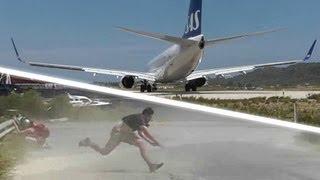Download JET BLAST throws person on the ground! SAS 737 at the Second St Maarten! Skiathos 737 Takeoff! Video