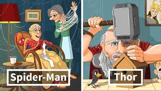 Download Russian Artist Illustrates What Would Happen If Famous Characters Got Old And Thor Is Too Cute Video