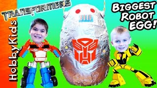 Download Giant ROBOT Surprise Egg with Transformers Toys by HobbyKidsTV Video