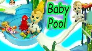 Download The Boss Baby Swims & Slides In Pool with Splashlings Mermaid Dolls + Barbie Kid Video