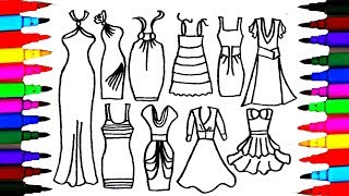 Download Girls Dresses Drawing and Coloring for Kids l Teach Kids to Draw Beautiful Clothes l Coloring Pages Video