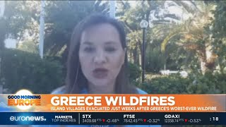 Download #GME | Firefighters have been battling a forest fire on Greece's second-largest island Video
