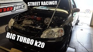 Download Big Turbo k20 Civic Hits Dyno then Drags ass on the street!!!! Video