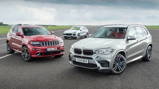 Download Jeep Grand Cherokee SRT vs Porsche Cayenne Turbo S vs BMW X5 M - performance SUV drag race Video