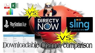 Download Streaming TV Service Lineup comparison DirecTVnow, SlingTV, Playstation Vue Video