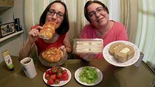 Download Asian Hot Dog Buns And Coffee Cake With Cheesecake Filling | Gay Family Mukbang (먹방) - Eating Show Video