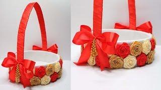 Download Membuat keranjang cantik dari kardus dan pita satin   How to make beautiful Wedding basket Video