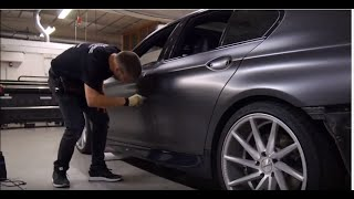 Download Car wrapping - BMW F10 535 satin dark grey + gloss black Video