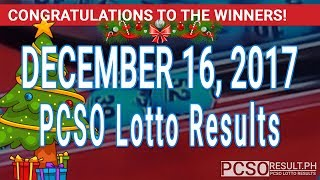 Download PCSO Lotto Results Today December 16, 2017 (6/55, 6/42, 6D, Swertres, STL & EZ2) Video
