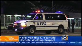 Download NYPD Van Hits 17-Year-Old Machete-Wielding Suspect Video
