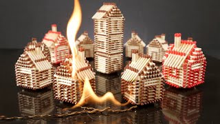 Download How to Make a Match House Town without Glue and Burn it Fire Domino Chain Reaction Video