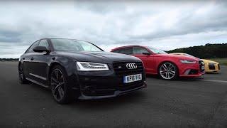 Download Audi R8 V10 Plus vs Audi RS6 vs Audi S8 | Top Gear: Drag Races Video
