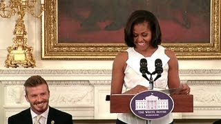 Download First Lady Michelle Obama Welcomes Kids to a Let's Move! Event with the LA Galaxy Video