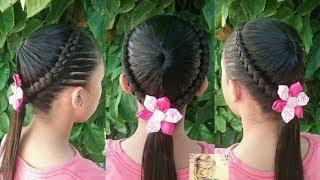 Peinado Para Ninas Con Ligas Y Trenzas De Medio Lado Peinados