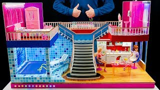 Download 8 DIY Miniature Mansion With Rooms! Dollhouse ~ Barbie Crafts Bedroom and swimming pool, backlit! Video