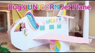 Download Bug's UNICORN Barbie Airplane Boxfort / Airport Pretend Play Video