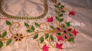 Download simple maggam work blouse designs | hand embroidery stitches flowers | aari work blouse designs Video