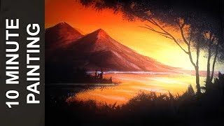 Download Painting a Sunset Over a Lake with Acrylics in 10 Minutes! Video