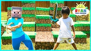 Download MINECRAFT In Real Life Steve vs Ryan ToysReview Minecraft Surprise Toys Hunt Video