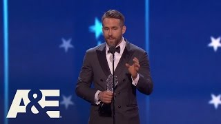 Download Ryan Reynolds Wins Best Actor in a Comedy | 22nd Annual Critics' Choice Awards | A&E Video