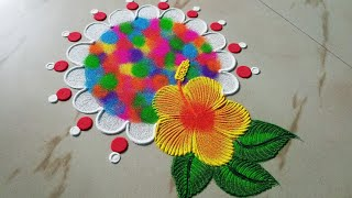 Download Holi special rangoli designs by Sangeeta || होली रंगोली || Easy and quick muggulu kolam design- Video