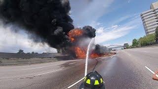 Download Massive Fuel Tanker Fire on I-25 Near Denver, Complete HD Fire Department Footage Video
