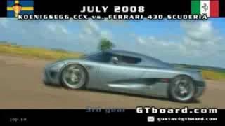 Download Koenigsegg CCX vs Ferrari 430 Scuderia 50-300km/h = GTBoard Video