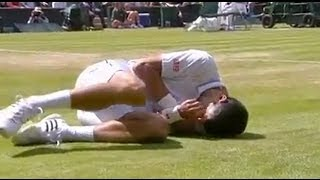 Download Djokovic takes a bad fall during his match with Simon - Wimbledon 2014 Video