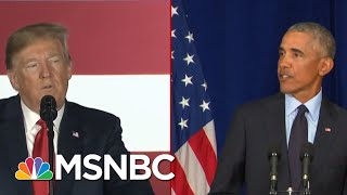 Download Split Screen Presidents: Barack Obama Comes Out Swinging As Donald Trump Digs In | Deadline | MSNBC Video