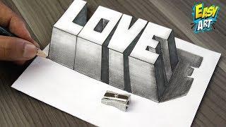 Download Como Dibujar AMOR 3D - How to Draw LOVE 3D - Dibujos de Faciles - Easy Art Video