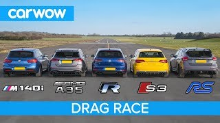 Download AMG A35 v BMW M140i v Golf R v Audi S3 v Focus RS - DRAG RACE, ROLLING RACE & BRAKE TEST Video