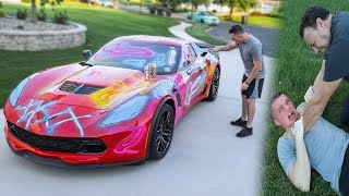 Download SPRAY PAINTING MY DADS CORVETTE Z06 *PRANK* Video
