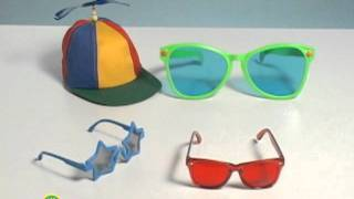 Image of three pairs of sunglasses and one hat from Sesame Street's