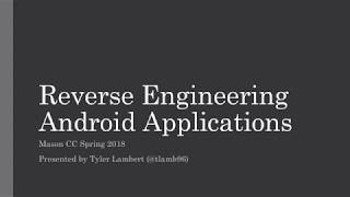 Download Reverse Engineering Android Applications Video