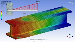 Download ANSYS 17.0 Tutorial - Non Linear Plastic Deformation I-Beam Video