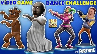 Download GRANNY vs BENDY vs HELLO NEIGHBOR vs FORTNITE vs FNAF vs ROBLOX! CRAZY VIDEO GAME DANCE CHALLENGE! Video